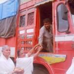 tying rakhi to truck driver rto
