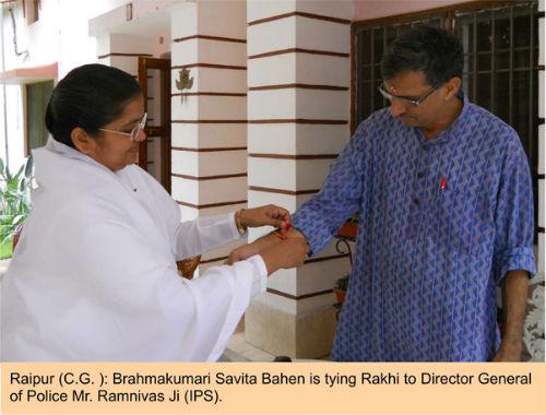 Tying Rakhi to Director General Of Police Mr.Ramnivas Ji (IPS)