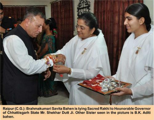 Tying Rakhi to Governor Mr. Shekhar Dutt Ji in Raipur Chhattisgarh
