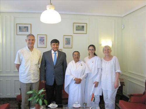 Didi Sheilu BK Marta BK Patricia and BK Henrique in Madrid Spain with Indian ambassador Mr. Sunil La