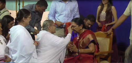 Brahmakumaris Tying Rakhi to Chief Minister of Gujarat