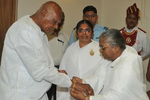 Rakhi Tying to Governor of Tamilnadu- H. E. K. Rosaiah, Governor of Tamilnadu