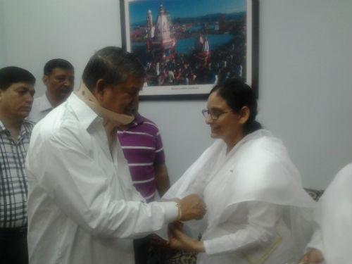 Brahmakumari Sisters Tying Rakhi to Governor & Chief Minister of Uttarakhand in Dehradun